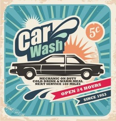 Retro car wash poster vector
