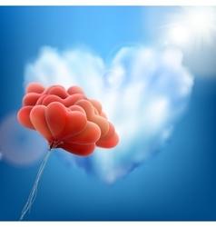 Retro love balloons on blue sky EPS 10 vector image
