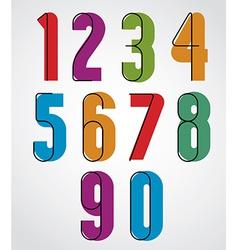 Retro numbers bold condensed numerals set vector