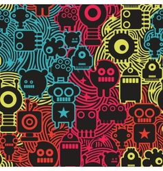 Robot and monsters cool seamless pattern vector image