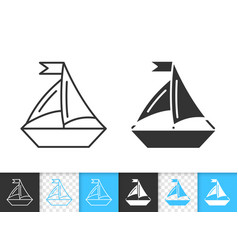 sailing ship simple black line boat icon vector image