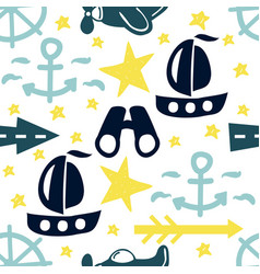 seamless pattern with stars ships anchors and vector image
