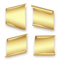 Set gold sheets paper vector
