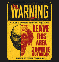 Sign board with zombie vector