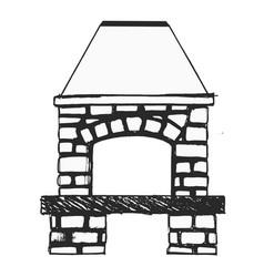 Sketch fireplace vector