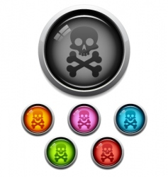 skull button icon vector image
