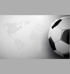 soccer ball and world map connection background vector image