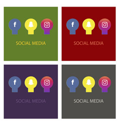 social media icons facebook icon instagram icon vector image