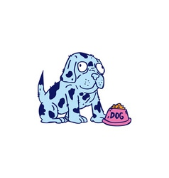 Spotted Dog Food Bowl Cartoon vector