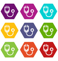 Stethoscope icons set 9 vector