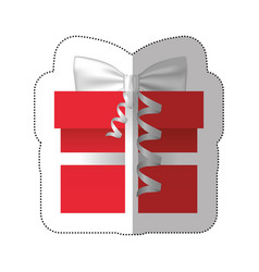 Sticker colorful gift box with silver ribbon vector