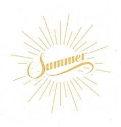 Summer retro label with light rays vector image