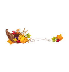 Thanksgiving banner with cornucopia and space for vector