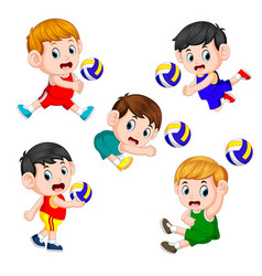 The various positions of the volleyball player vector