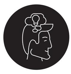 thinking process head black concept icon vector image