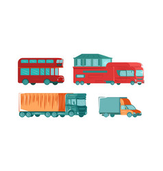 urban public transport set with bus truck travel vector image