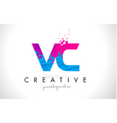 Vc v c letter logo with shattered broken blue vector