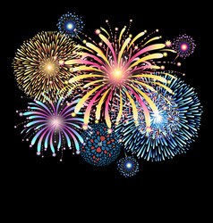 Vibrant with color fireworks vector