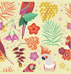 vintage hawaiian parrots pattern or aloha print vector image