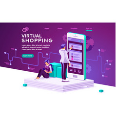 Virtual shopping concept vector