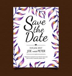 Watercolor floral menu card vector