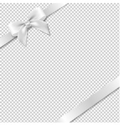 White bow and ribbon with white background vector