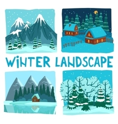 Winter Landscape Digital Graphic Set vector