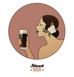 woman holding a glass of beer stout vintage style vector image
