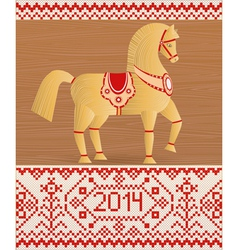 Wooden horse a symbol new year 2014 vector