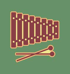 Xylophone sign cordovan icon and mellow vector
