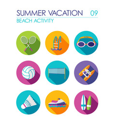 beach activity flat icon set summer vacation vector image vector image