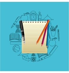 elements school notebook pen color icons vector image