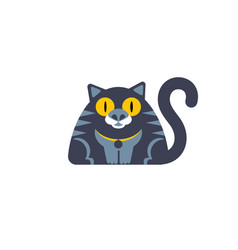 flat style cat icon wirh big yellow eyes vector image