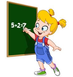 girl writing on blackboard vector image