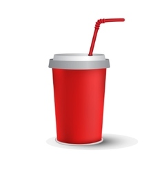 Red paper cup template vector image