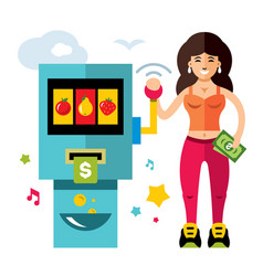 slot machine and girl game of chance flat vector image
