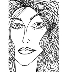Abstract sketch of woman face vector image vector image