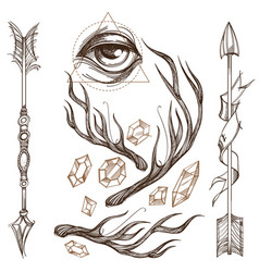 Arrows antlers gems and all-seeing eye collection vector