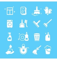 Cleaning and higiene white Icons set vector image