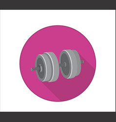 dumbbell in pink circle sport gym icon health vector image