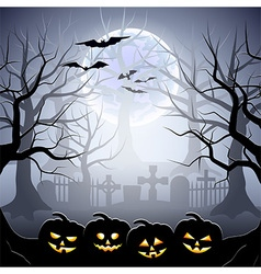 Halloween graveyard and pumpkins in foggy forest vector image