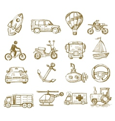 hand drawn transport vector image