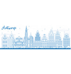 outline antwerp skyline with blue buildings vector image vector image