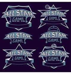 set of vintage sports all star crests with soccer vector image vector image