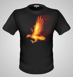 t shirts Black Fire Print man 08 vector image