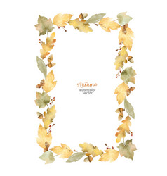 watercolor rectangular frame of leaves and vector image vector image