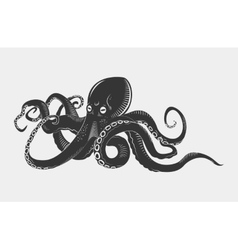 Black danger cartoon octopus characters with vector image vector image