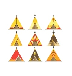Cartoon Wigwams or Tepees Icons Set vector image vector image
