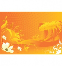 flowers with wave designs vector image vector image