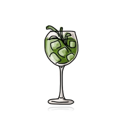 Green cocktail sketch for your design vector image vector image